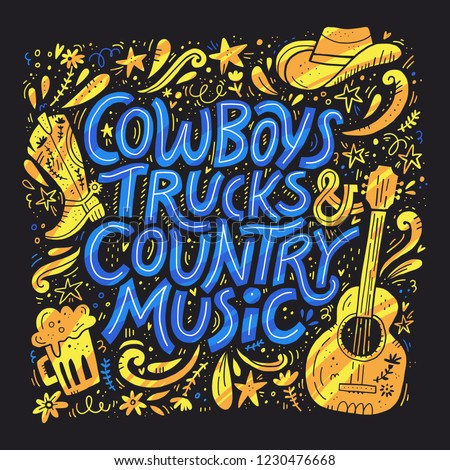 Country music festival retro poster vector template. Hand drawn blue lettering. Cowboy fest banner, invitation concept. Acoustic guitar, beer, cowboy hat cliparts. Color western vintage illustration