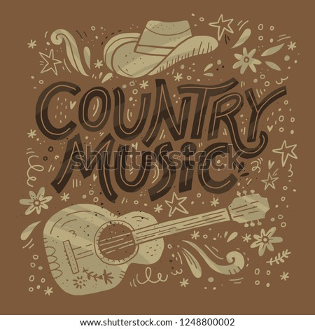 Country music festival retro poster vector template. Hand drawn lettering. Cowboy fest banner, invitation concept. Acoustic guitar, cowboy hat grunge cliparts. Color western vintage illustration