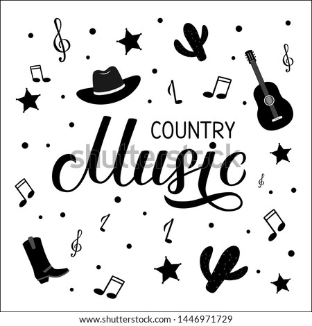 Country Music lettering with hat, cowboy boots, notes and guitar. Acoustic guitar musical show typography poster. Easy to edit vector template for banner, sign, logo, flyer design, invitation.