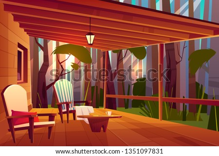 Country or village house in forest with wooden coffee table and comfortable, soft armchairs on roofed veranda or pouch cartoon vector illustration. Peaceful place for evening rest, relaxing outdoors
