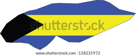 Country shape outlined and filled with the flag of bahamas stock