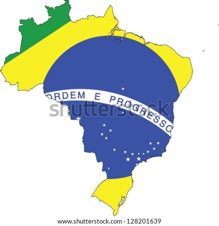 Country shape outlined and filled with the flag of Brazil