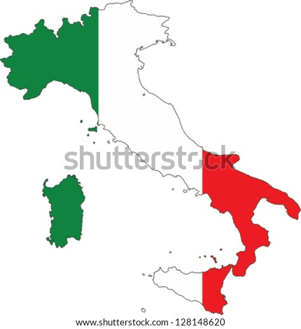 Country shape outlined and filled with the flag of Itlay
