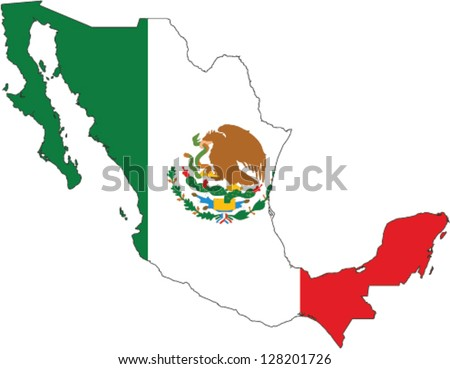 Country shape outlined and filled with the flag of Mexico