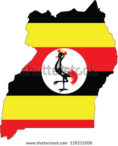 Country shape outlined and filled with the flag of Uganda