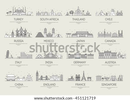 country thin line icons travel