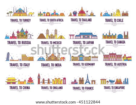 Country thin line icons travel vacation guide places and features. Big set of architecture landscape background concept. Outline template design for web, Infographic and mobile on flat style