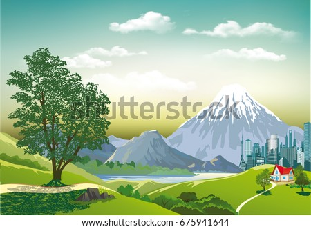 countryside in vector form