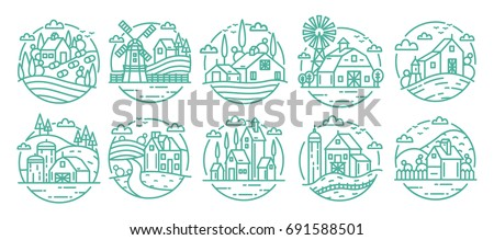 countryside labels set farm