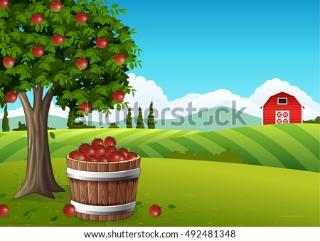 Countryside landscape with apple tree