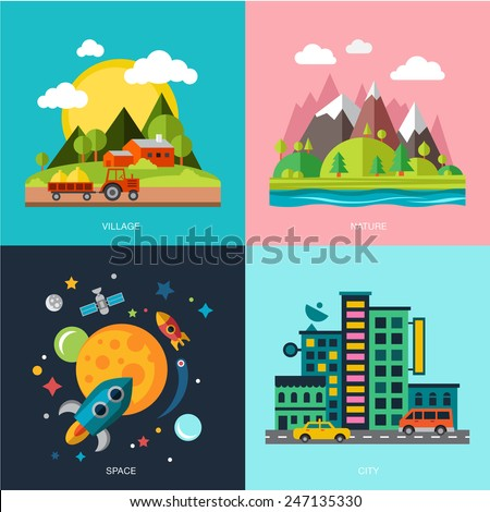 countryside  mountains and