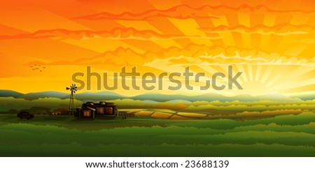 Countryside panorama in the evening (.JPG version id 44515189, other landscapes are in my gallery)
