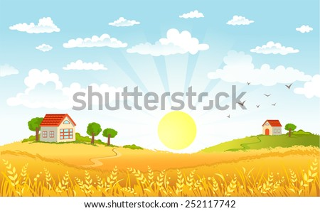 Stock Photo Countryside panorama in the morning
