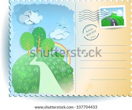 Countryside postcard, vector background