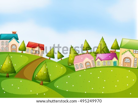 Countryside scene with houses on the hills illustration #495249970