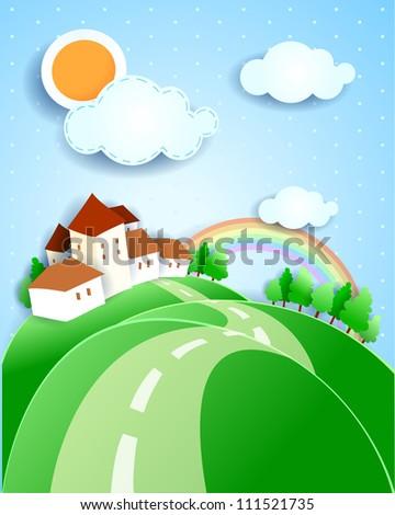 Countryside, vector illustration - stock vector