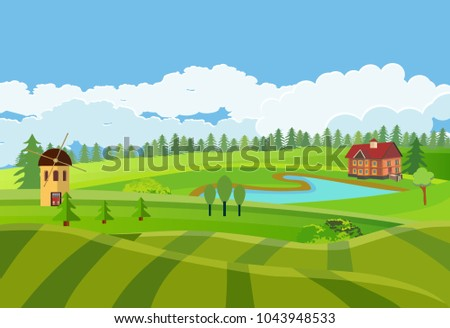 Countryside vector illustration, houses on the green hills, farm, lake outdoor vector