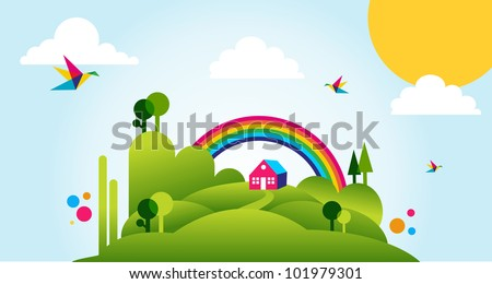 Countryside with forest, house and rainbow spring time fresh illustration background. Vector file layered for easy manipulation and custom coloring.