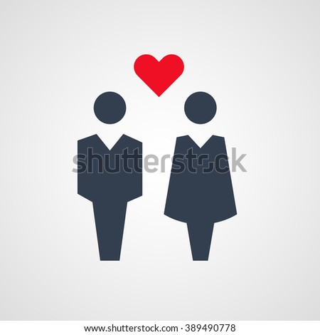 Couple (a man and a woman) with red heart between and above them vector #389490778