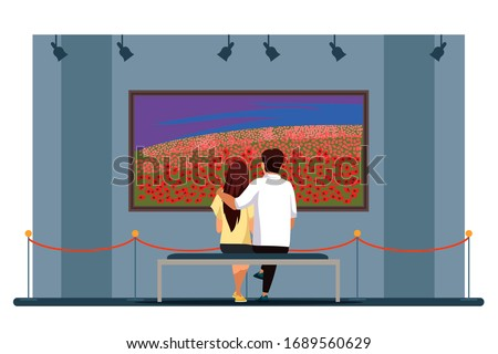 Couple admire flower field painting in art gallery. Loving man woman hugging sitting on bench and looking at natural landscape picture view from back. Artwork exhibition in museum. Cultural recreation Foto stock ©