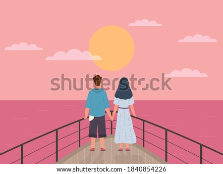 couple and sunset happy young
