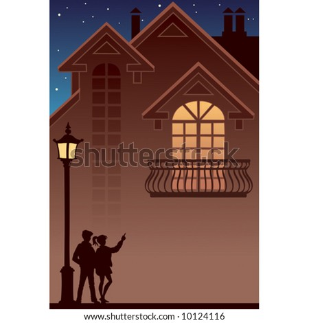 Couple and their own home, vector