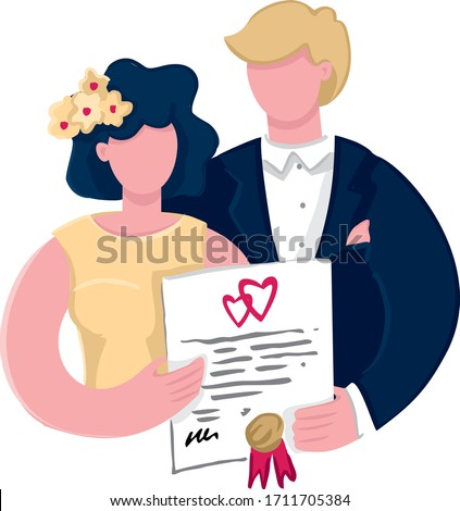 Couple are holding signed a marriage contract with a seal. Happy bride and groom with a marriage certificate. Concept of a successful marriage, a happy family life. Wedding card. Vector illustration.
