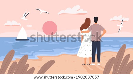 couple at sea sunset man and
