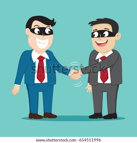 Couple bad businessman friend handshake with bad plan, vector illustration cartoon