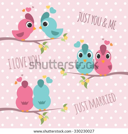 couple bird branches   pink and