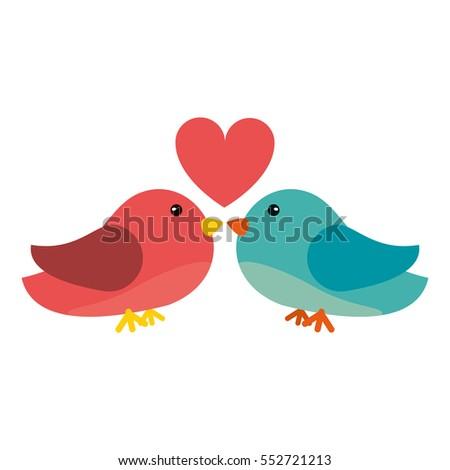 couple bird heart loving