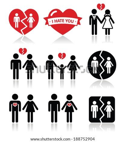 couple breakup  divorce vector