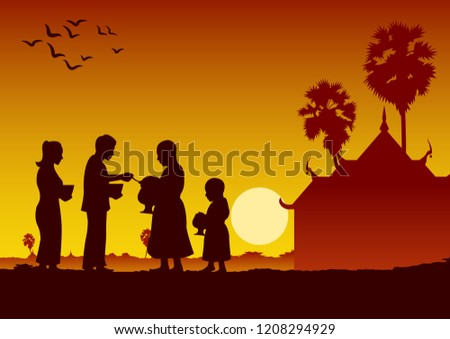 couple buddhist give food offering to a monk or ask as a favour receive food or ask for alms,routine of monk,vector illustration