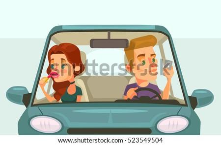 Couple car driving. Careless driver character. Vector flat cartoon illustration