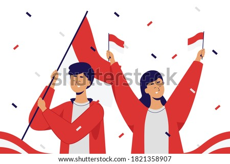 Couple celebrating Youth Pledge day. Sumpah Pemuda declaration. Flat Vector Illustration.