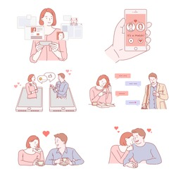 Couple characters dating on smart phones hand drawn style vector doodle design illustrations.