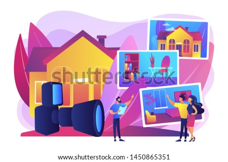 Couple choosing apartment. Real estate photography, property photography services, photography for realtors and advertisement concept. Bright vibrant violet vector isolated illustration