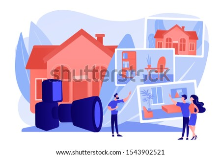 Couple choosing apartment. Real estate photography, property photography services, photography for realtors and advertisement concept. Pinkish coral bluevector isolated illustration