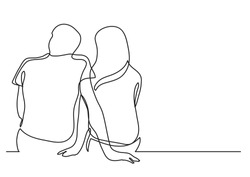 couple dating - single line drawing