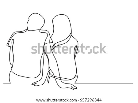 Stock Photo couple dating - single line drawing