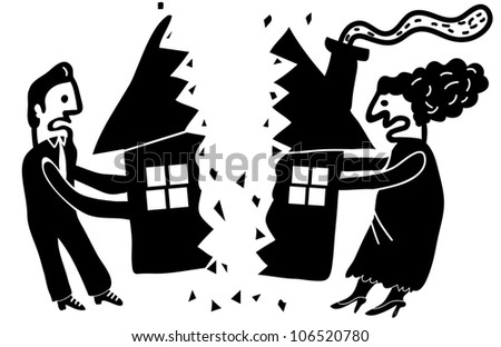 couple dividing their house