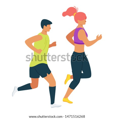 Couple doing exercise, workout routine together cartoon vector illustration. Girlfriend and boyfriend pastime, hobby. Strong independent woman flat character design. Cardio, endurance training