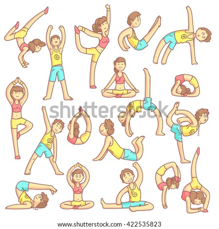 couple doing yoga poses set of flat outlined pale color