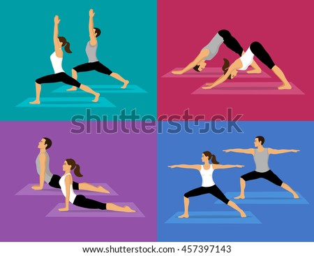couple doing yoga workout set