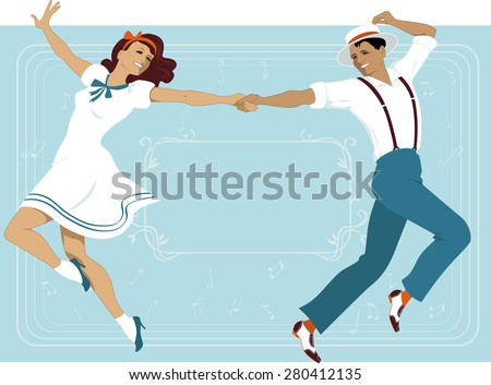 Couple dressed in 1940s fashion dancing in a classic Broadway music theater style, frame with a copy space on the background, EPS 8 ストックフォト ©