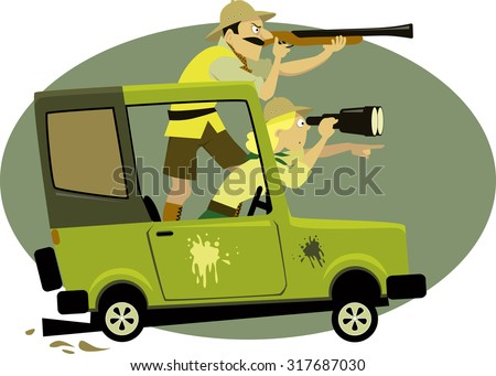 Couple dressed in safari style clothes pursuing game on a jeep with a binocular and a rifle, vector illustration, EPS 8, no transparencies