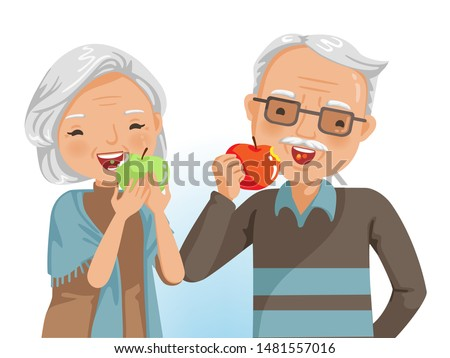 Couple elderly eating together. They  are eating apple. Smiling good dental health. Healthy food concept and the elderly. Portrait of grandmother and grandfather. Vector illustrations isolated.