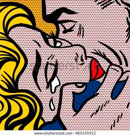 Couple embracing. Man and woman. Pop art illustration.
