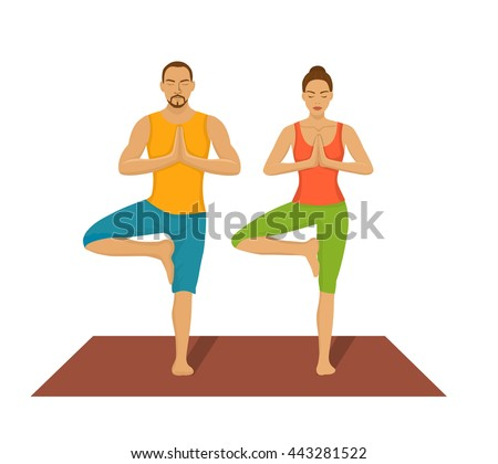 couple exercising yoga together