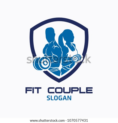 couple fitness logo icon vector